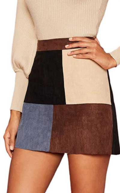 MAKEMECHIC Mini Faux Suede Corduroy Skirt