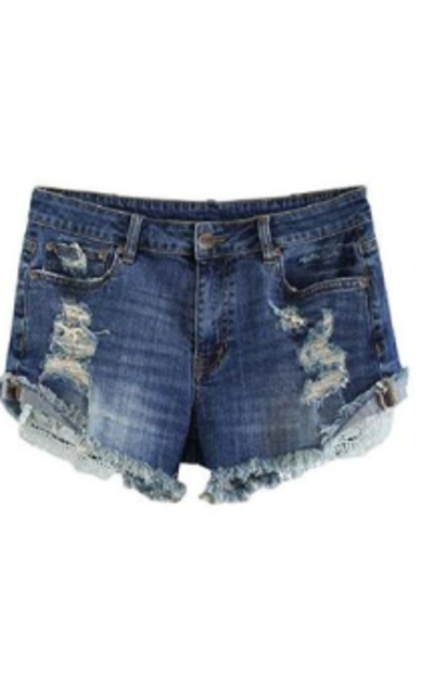 MSSHE Destroyed Denim Shorts