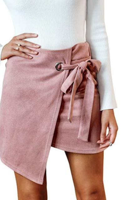 BerryGo Faux Suede Mini Skirt