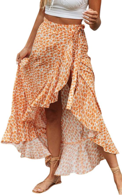 BerryGo  Boho Floral Wrap Maxi Skirt