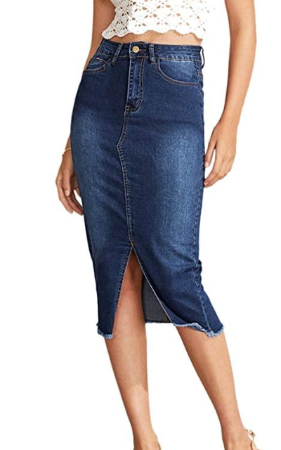SheIn Slit Hem Frayed Trim Denim Skirt
