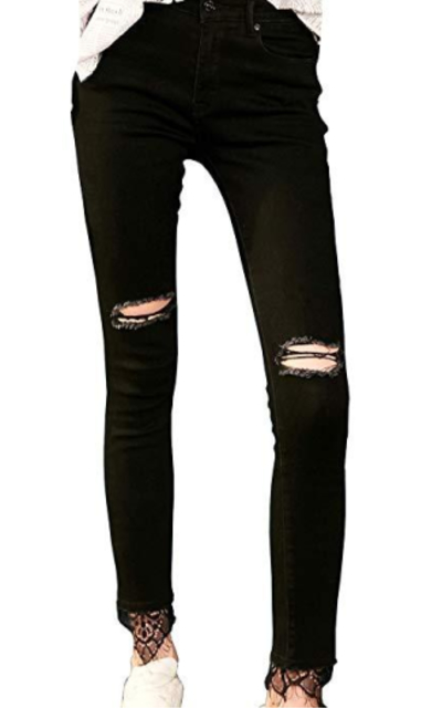 Elf Sack Lace Trim Distressed Jeans