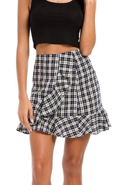 Justalwart Plaid Swing Ruffle Skirt