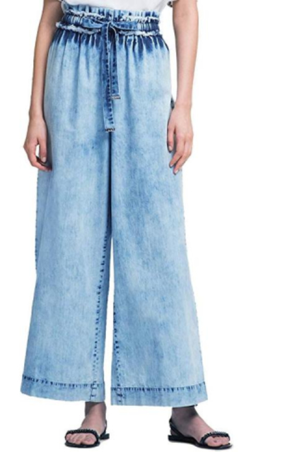 DKNY Cotton Wide-Leg Acid-Wash Jeans
