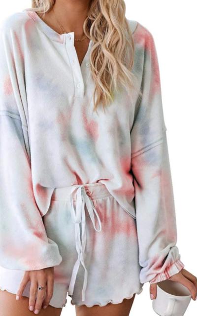Astylish Tie Dye Printed Boxy Pajamas Set