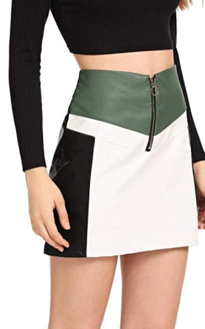 WDIRARA Zip Up  Color Block Mini Skirt