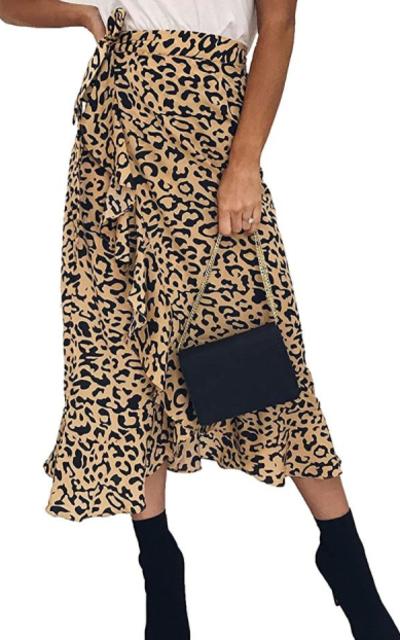 Ruffle Leopard Midi Skirt