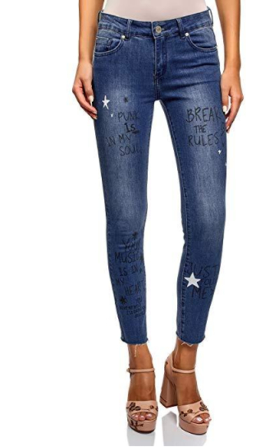 oodji Ultra Skinny Jeans with Letter Prints