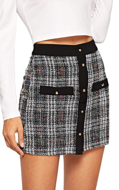 WDIRARA Tweed Plaid Mini Skirt