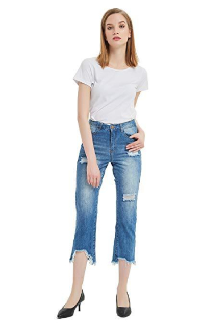 Tronjori Denim Distressed Ripped Capris Jeans