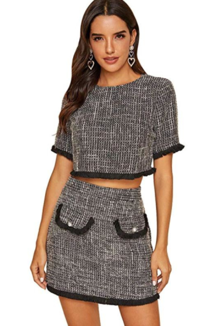 Floerns Frayed Trim Tweed Top and Skirt Two Piece Set