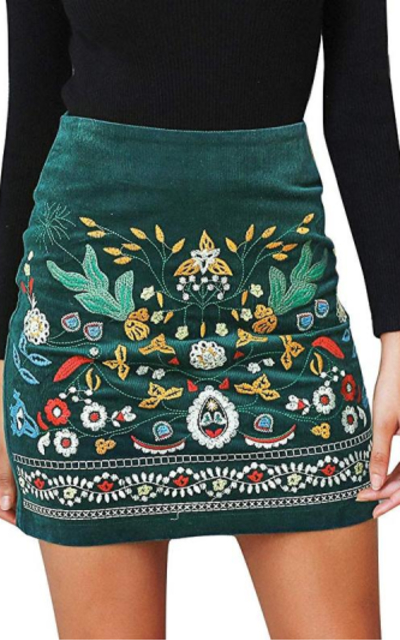 BerryGo Embroidered Mini Skirt