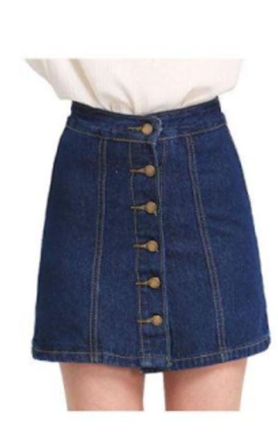 SheIn Button Front Denim A-Line Skirt