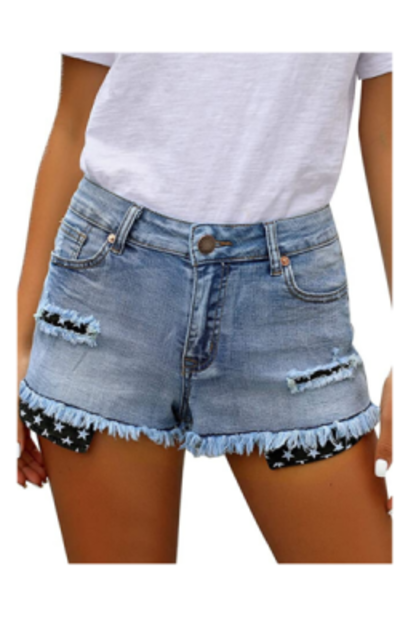 Utyful Mid Rise Stretchy Distressed Shorts