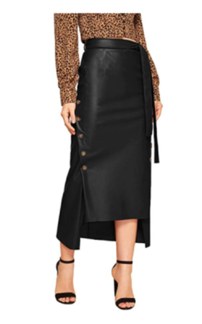 SOLY HUX Belted Button Asymmetrical Hem Leather Skirt