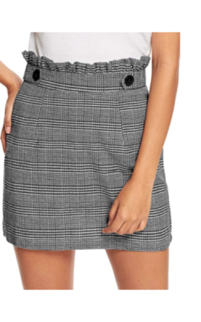WDIRARA  Mini Short Plaid Skirt