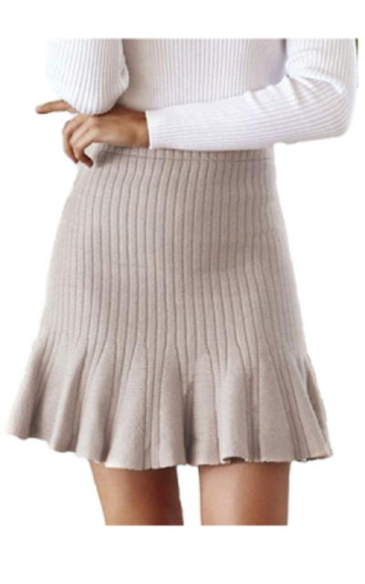 Simplee Knitted Ribbed Ruffle Flare Mini Skirt
