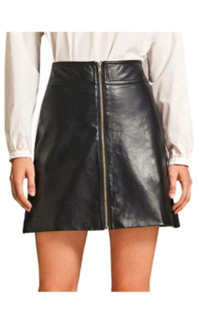 WDIRARA Zip Up Front PU Leather Skirt