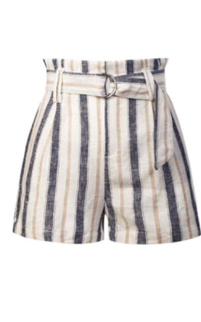 Design by Olivia Stripe Belted Linen Beach Shorts