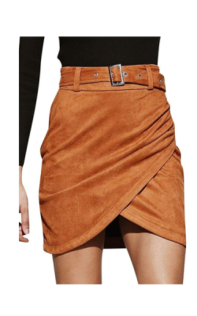 Missy Chilli Autumn Wrap Suede Skirt
