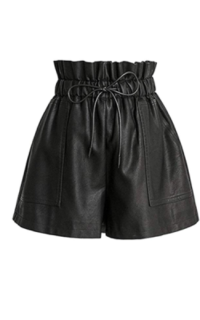 SCHHJZPJ High Waisted Faux Leather Shorts
