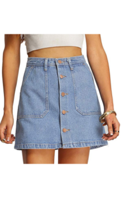 SheIn Button Front Denim A-Line Short Skirt