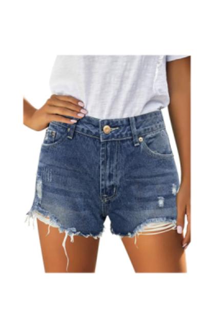 Vetinee Mid Rise Frayed Denim Shorts