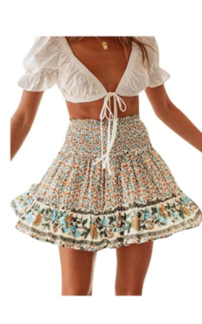 BerryGo Boho Floral Ruffle A-line Mini Skirt