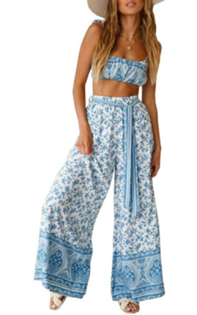 GAMISOTE Floral Print 2 Piece Outfits