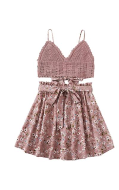 SheIn 2 Piece Crochet Cami Tank Top Short Skirt Set