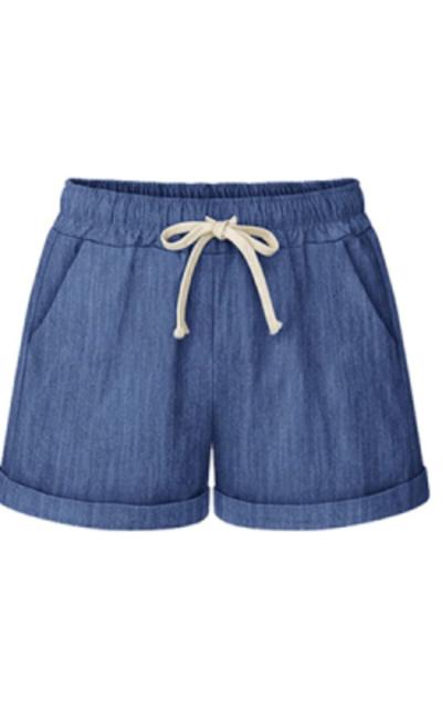 Fuwenni Drawstring Elastic Waist Shorts