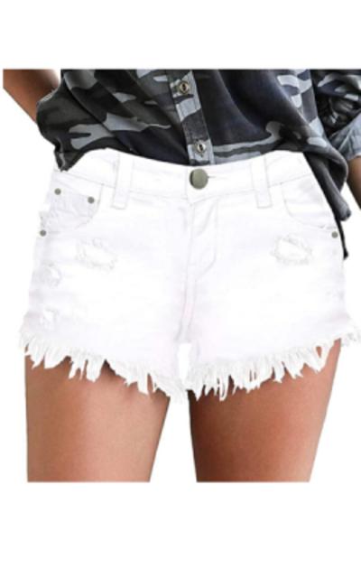 onlypuff White Jean Shorts
