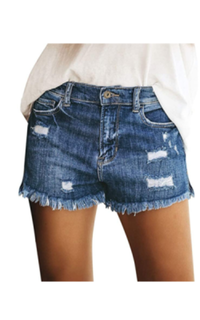 luvamia Mid Rise Ripped Denim Shorts