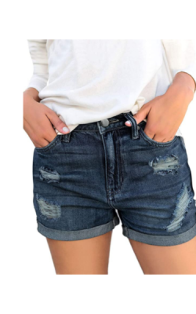 Luyeess Mid Rise Ripped Denim Shorts