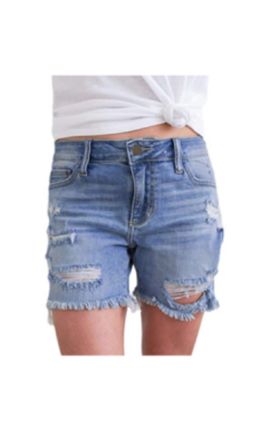 Sidefeel Frayed Destroy Bermuda Jean Shorts