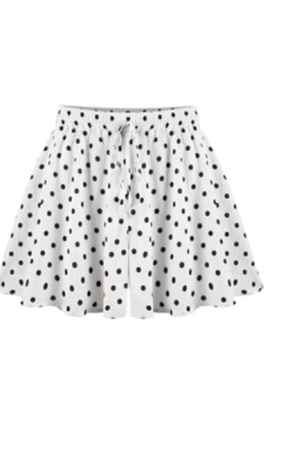Fuwenni Elastic Waist Polka Dot Shorts