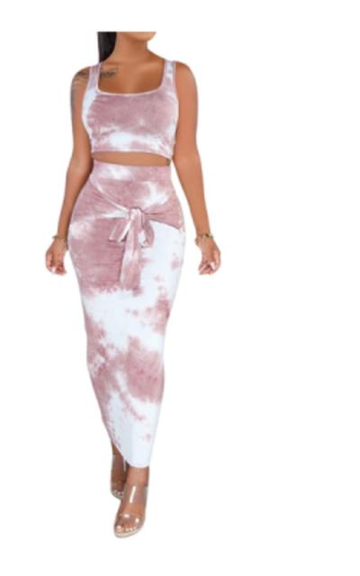 Tye Die Tank Crop Top Maxi Skirt Set