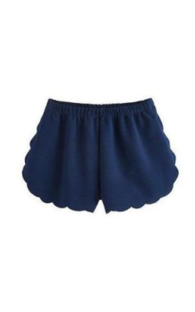 MakeMeChic Solid Elastic Waist Scalloped Shorts