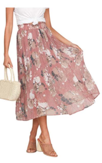 8db37c196fe Fashiomo Chiffon Floral Ruffle Pleated Midi Skirt