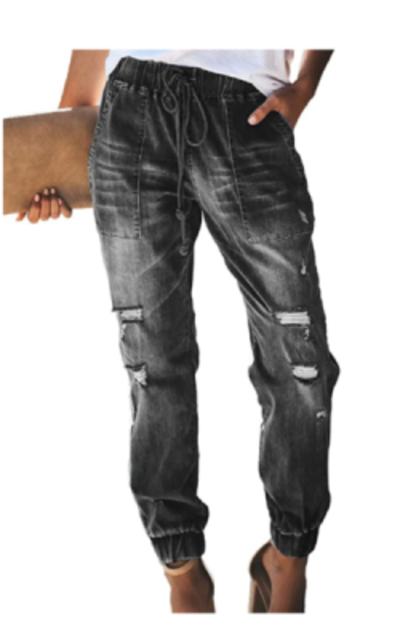 GOSOPIN Drawstring Jogger Denim Jeans