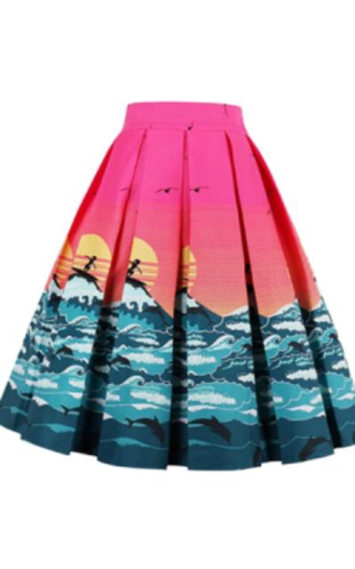 Dressever Printed Pleated Midi Skirt
