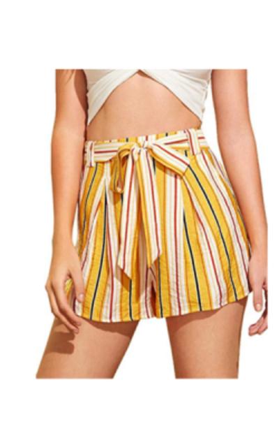 MAKEMECHIC Striped Elastic Waist Self Tie Shorts