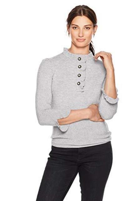 Lark & Ro Sweaters Ruffle Cashmere Sweater