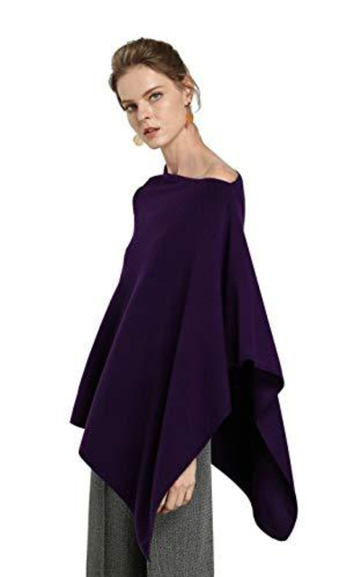 Cashmere Poncho Solid Knit Asymmetric Sweater