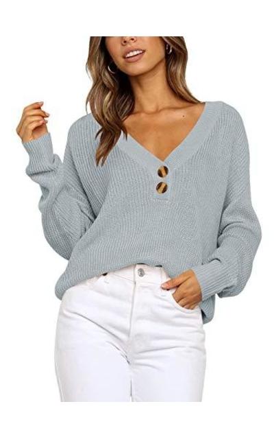 ANRABESS  Deep V Neck Button Sweater