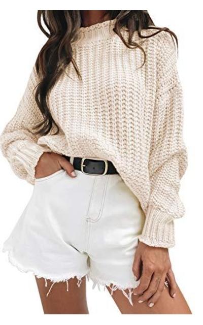 MEROKEETY Turtleneck Oversized Knit Sweater