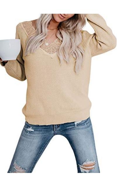 Zecilbo V-Neck Lace Sweater