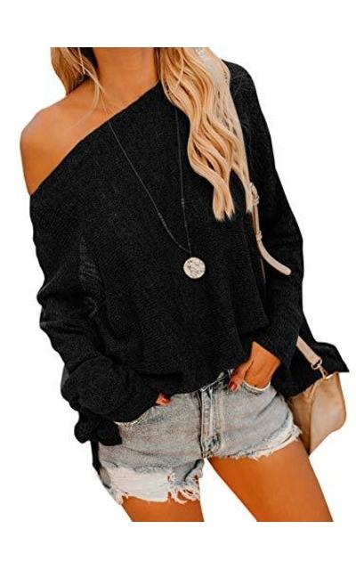 Geckatte Dolman Off Shoulder Knit Pullover