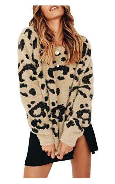 Tutorutor Fuzzy Leopard Print Sweater