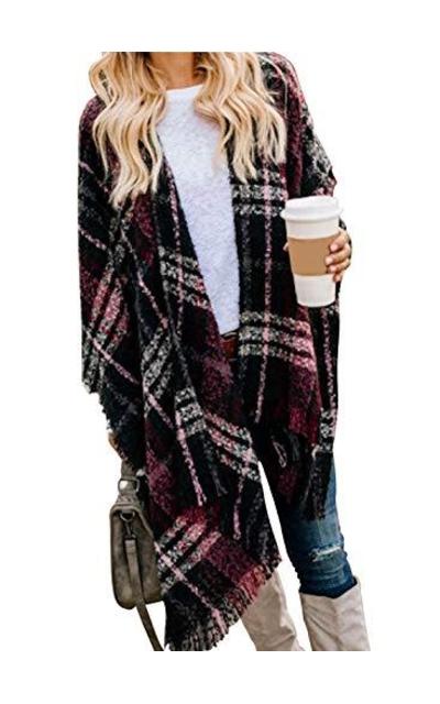 VIMPUNEC Boho Buffalo Plaid Sweater